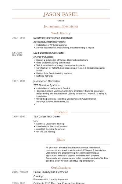 Journeyman Electrician Resume samples - VisualCV resume samples ...