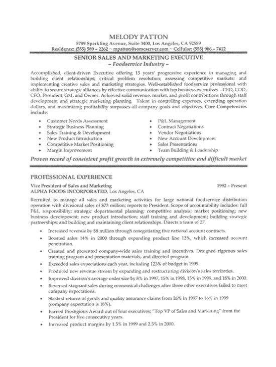 Sales And Marketing Manager Resume Sample Pdf Free Samples ...