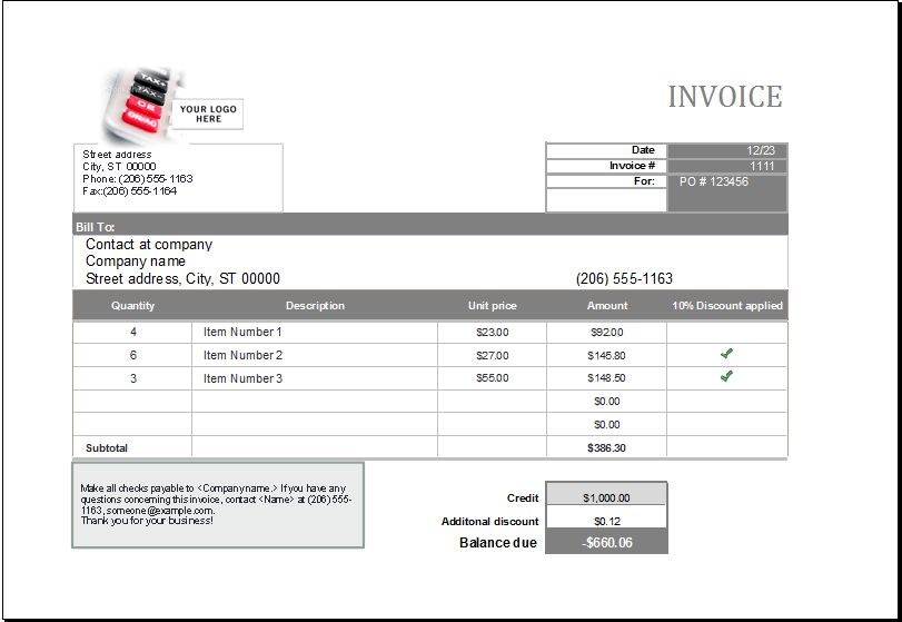 Editable Printable MS Excel Format Sales Invoice | Excel Templates