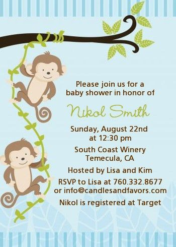 Monkey Themed Baby Shower Invitations | almsignatureevents.com