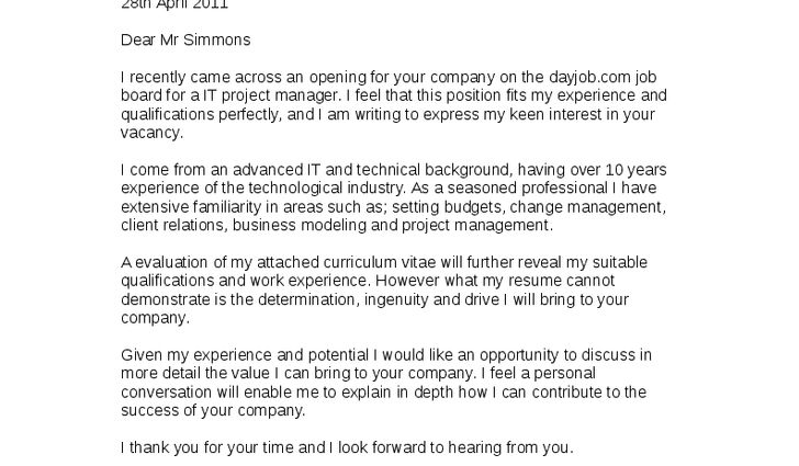 project manager cover letter examples it project manager cover ...