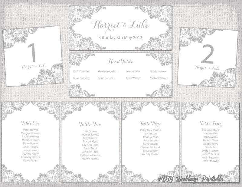 "Wedding Seating Chart Template Silver Gray ""Antique Lace ..."