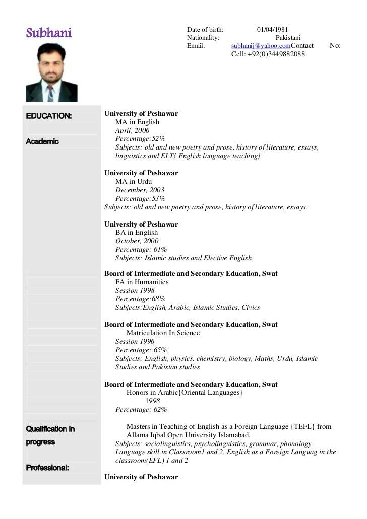 Curriculum Vitae Example Internship | Create professional resumes ...