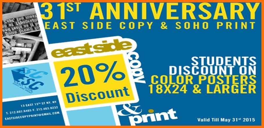 20% discount on print jobs at East Side Copy Print: Business Cards ...