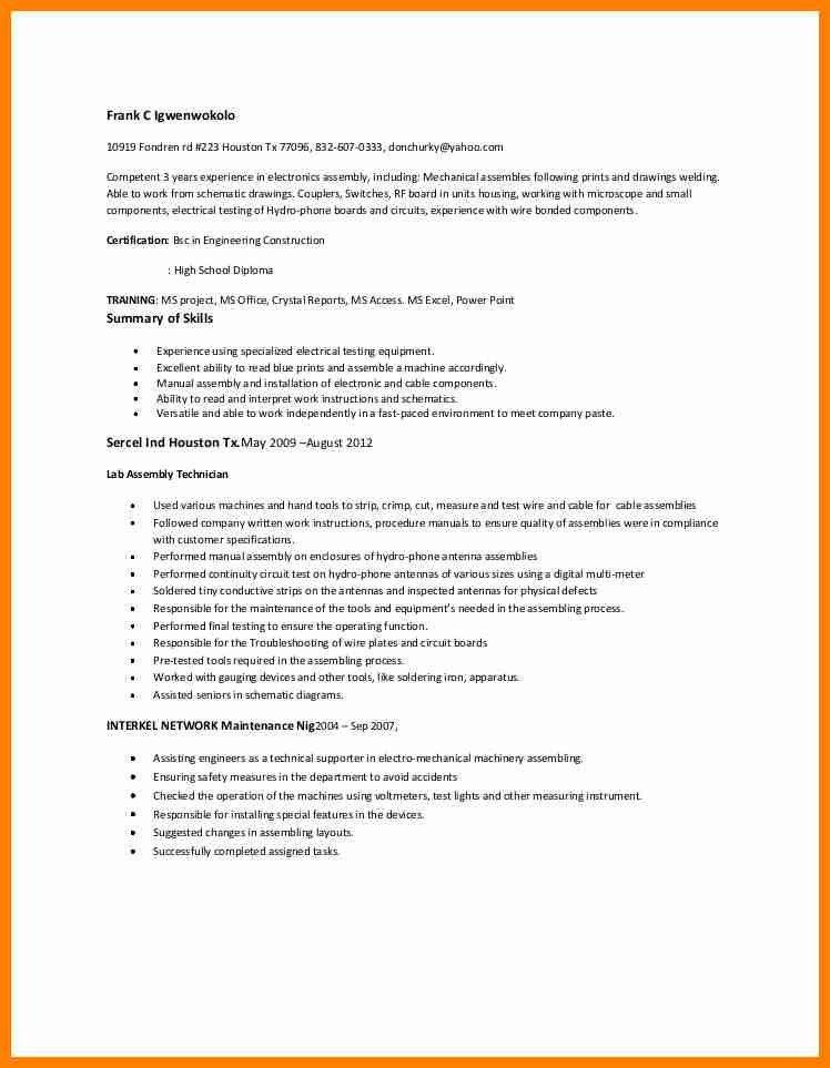 electronic assembler resume professional electronic assembler