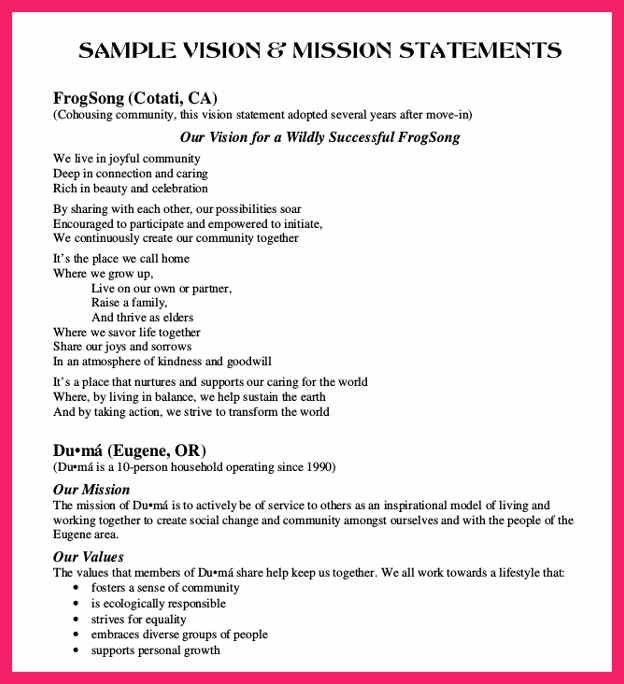 mission statement examples | bio letter format