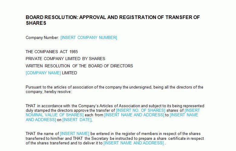 Board Meeting: Approval and Registration of Transfer of Shares ...
