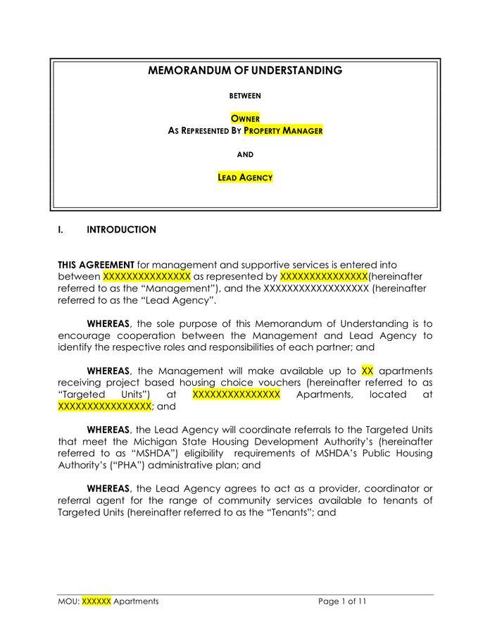 Memorandum of Understanding Template - download free documents for ...