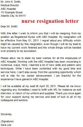 Nursing Resignation Letter - All About Design Letter