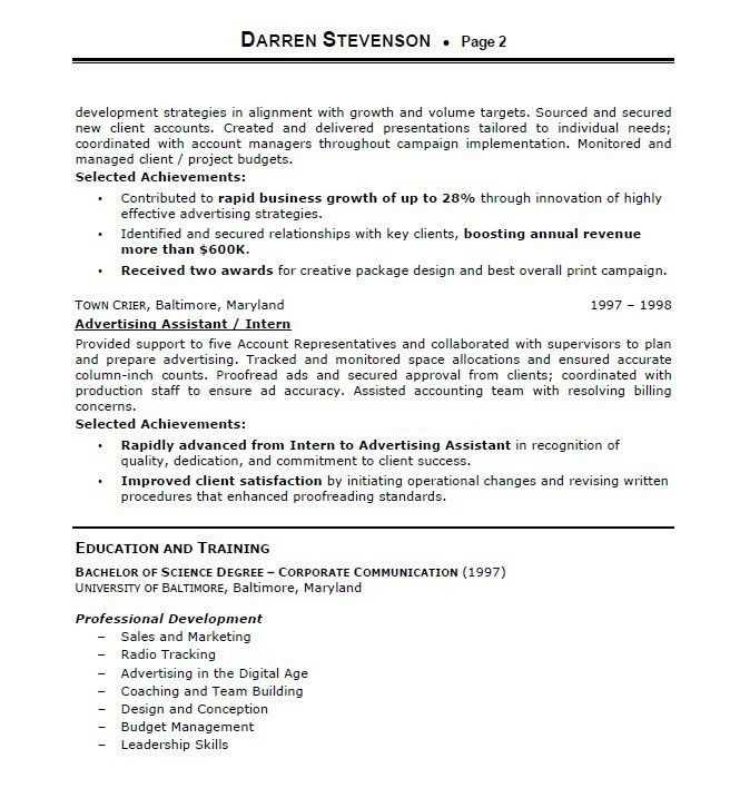 Account Executive Resume. 12 Executive Resume Samples ...