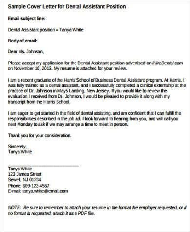 Sample Dental Assistant Cover Letter - 9+ Examples in Word, PDF