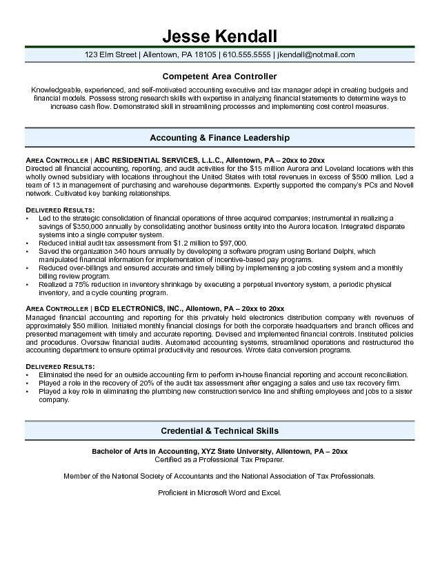 Free Area Controller Resume Example