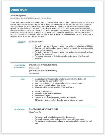 Accounting Clerk Resume Contents, Layouts & Templates | Resume ...