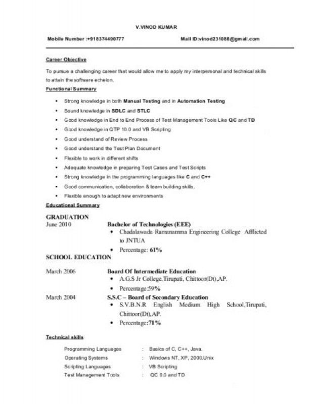 Resume Format For Software Tester – Resume Examples