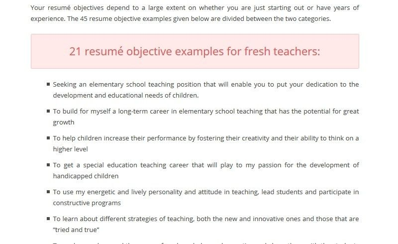 Career Objective For Teacher Resume - Best Resume Collection