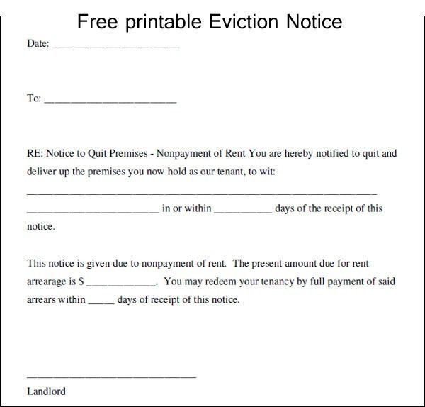 Free Printable Eviction Notice Template - Excel About