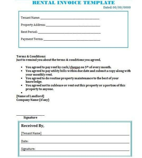 rent a car invoice template | Free Invoice