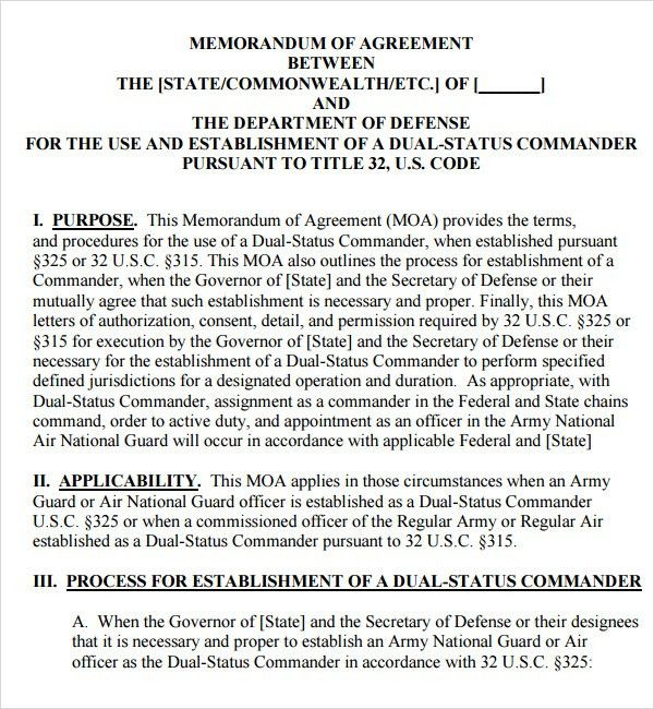 Memorandum of Agreement - 9+ Free PDF , DOC Download