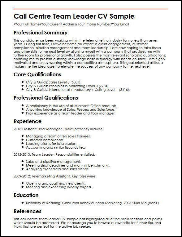 Call Centre Team Leader CV Sample | MyperfectCV