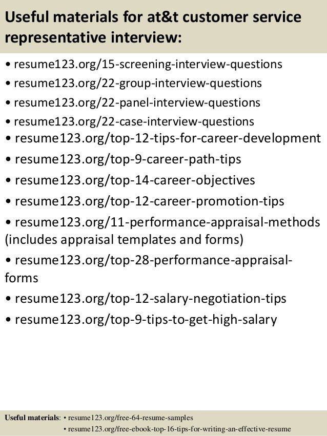Top 8 at&t customer service representative resume samples