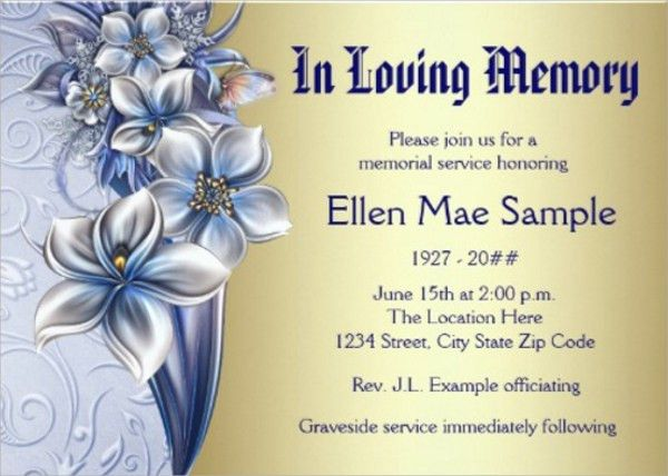 Memorial Service Invitation Cards | PaperInvite