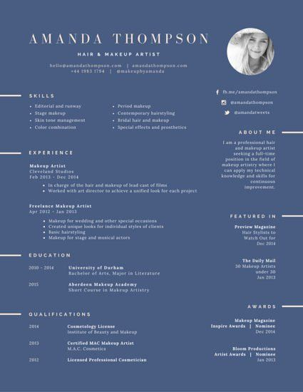 Hair and Makeup Artist Resume - Templates by Canva