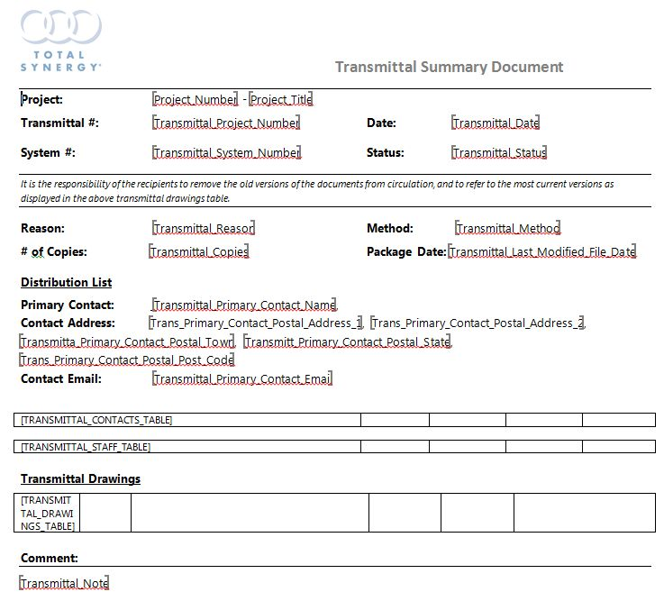 Transmittal Document Template