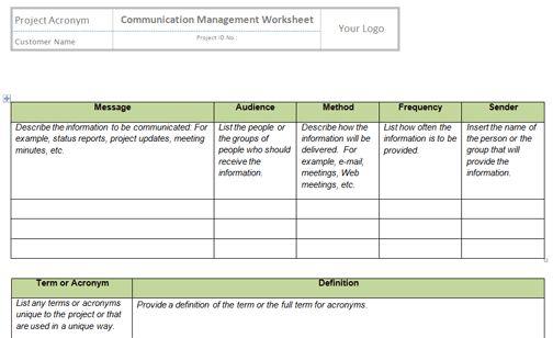 Manage Communications Templates | Project Management Templates ...