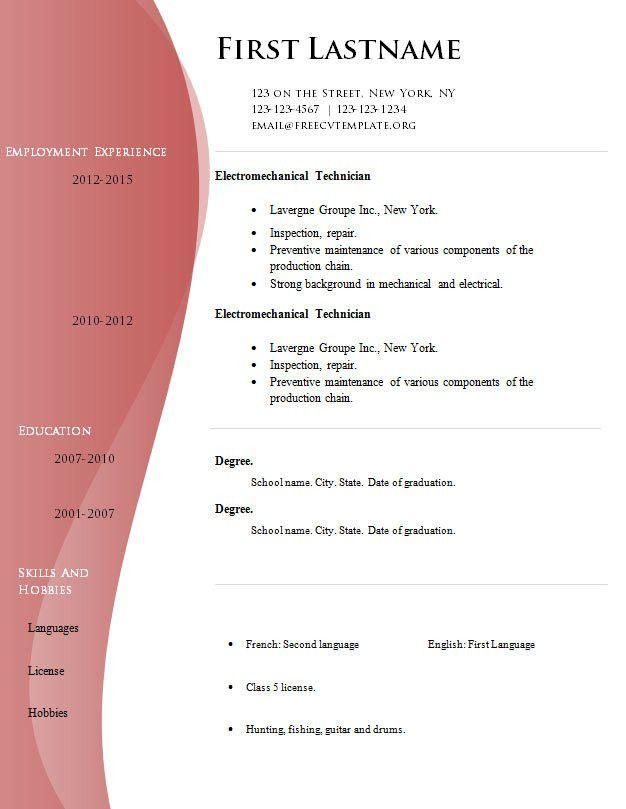 Free high quality cv template (#525 to 531) – Free CV Template dot Org