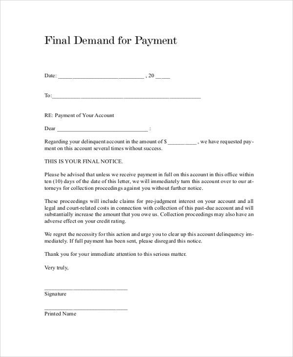 Sample Final Notice Letter - 7+ Documents in PDF, Word