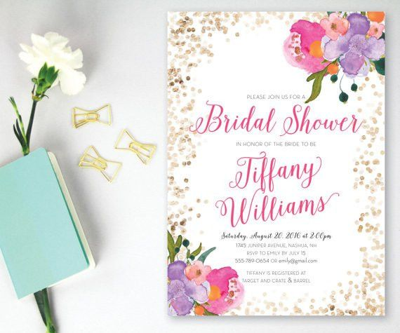 Printable Bridal Shower Invitation, Pink And Gold Glitter Bridal ...