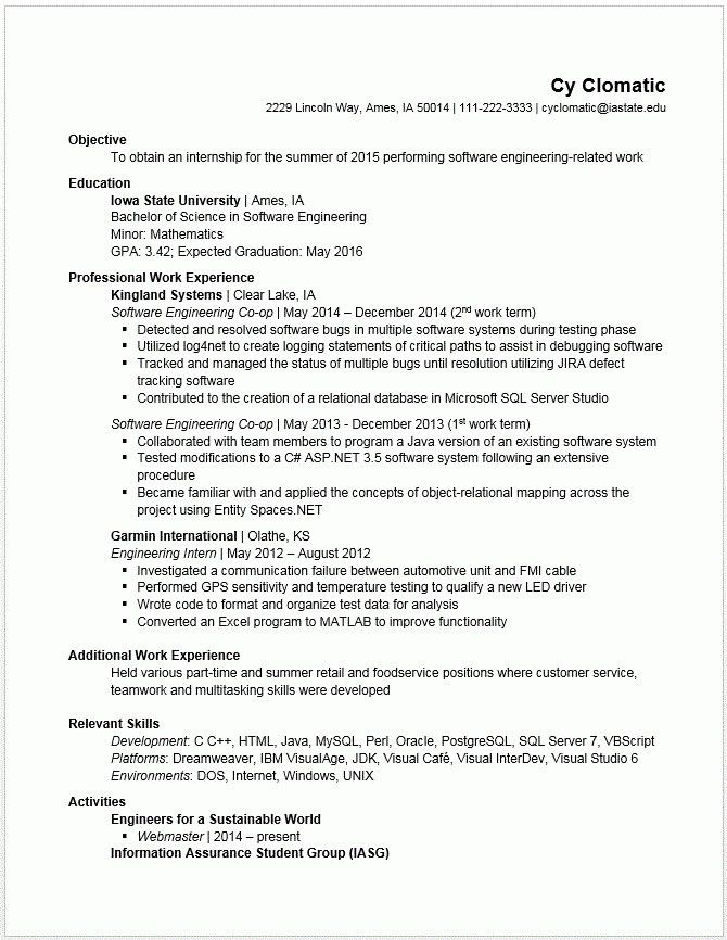 Sample Resume For Engineering Students - Best Resume Collection