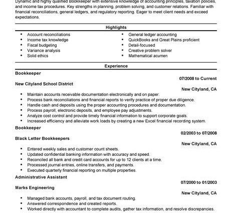 Bookkeeper Resume bullet points Example accounting finance ...