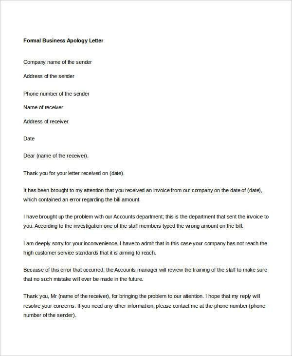 Formal Business Apology Letter Sample Due To Mistakes Or ...