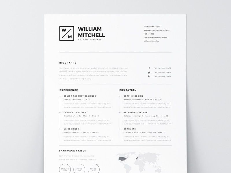Free Resume Template PSD & AI by Mats-Peter Forss - Dribbble