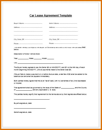 vehicle lease agreement templateReference Letters Words ...