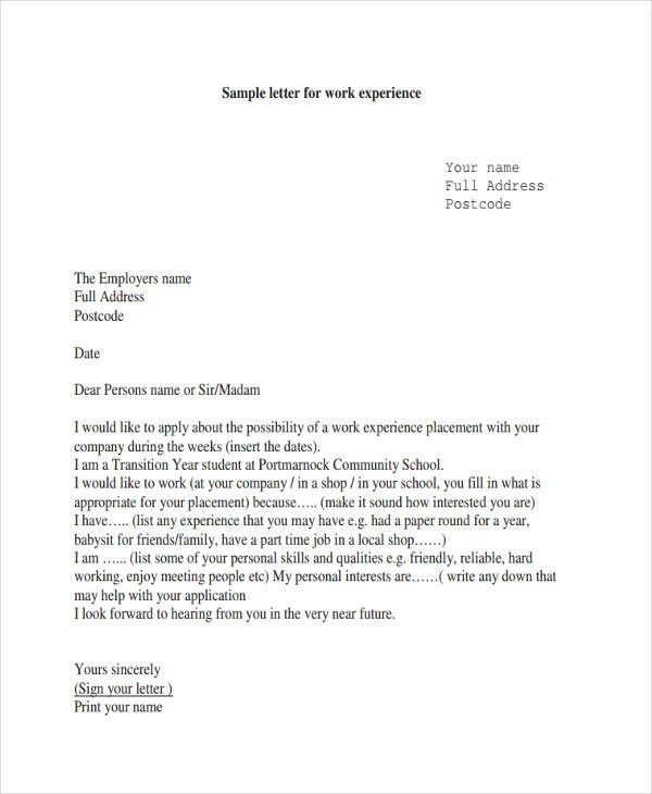 6+ Work Letter Templates - 6+ Free Sample, Example Format Download ...