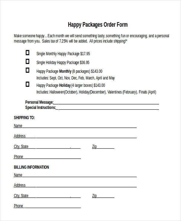 Package Order Forms - 7+ Free Word, PDF Format Download | Free ...