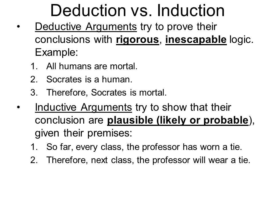 Chapter 3 Basic Logical Concepts. Deduction vs. Induction ...