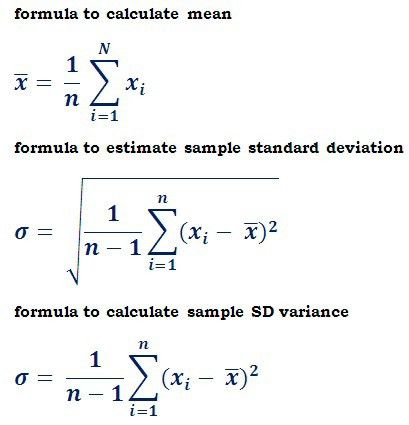 Formulas to calculate sample standard deviation @ http ...
