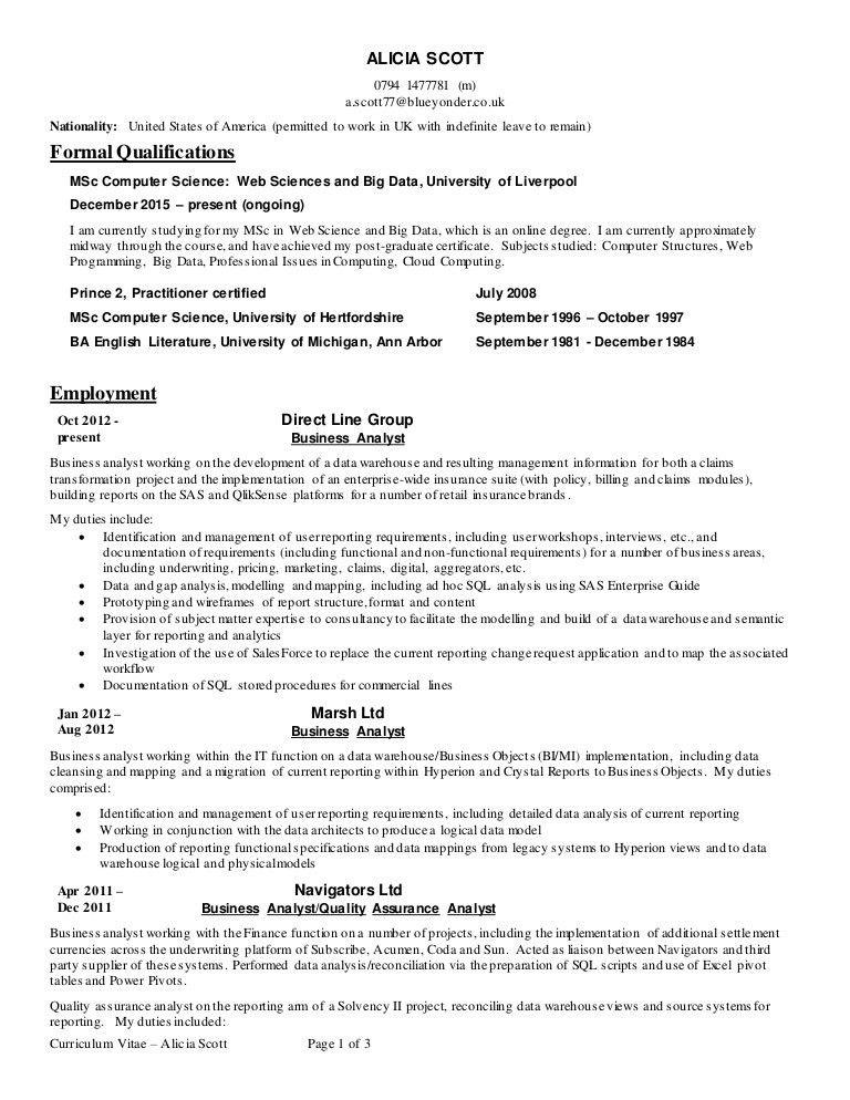 Alicia Scott CV Business Analyst Nov 2016