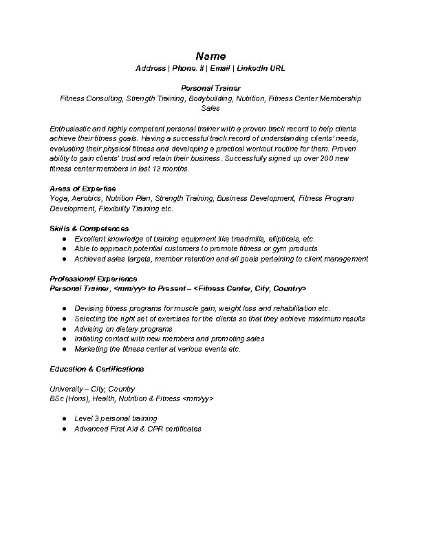 Best Fitness And Personal Trainer Resume Example | RecentResumes.com