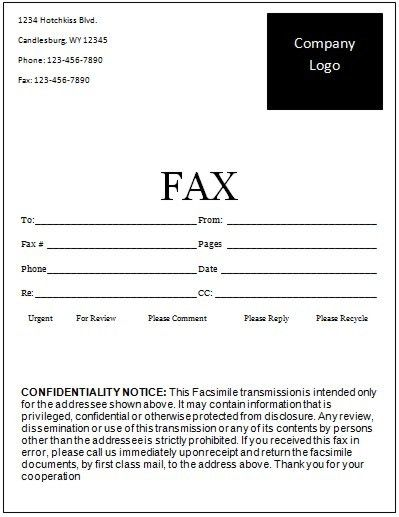 Fax Cover Sheet Template Microsoft Word | Best Business Template