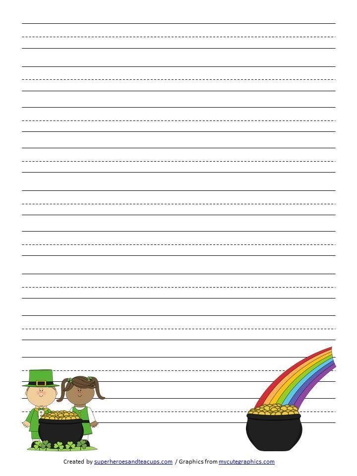 Patrick's Day Handwriting Paper Free Printable