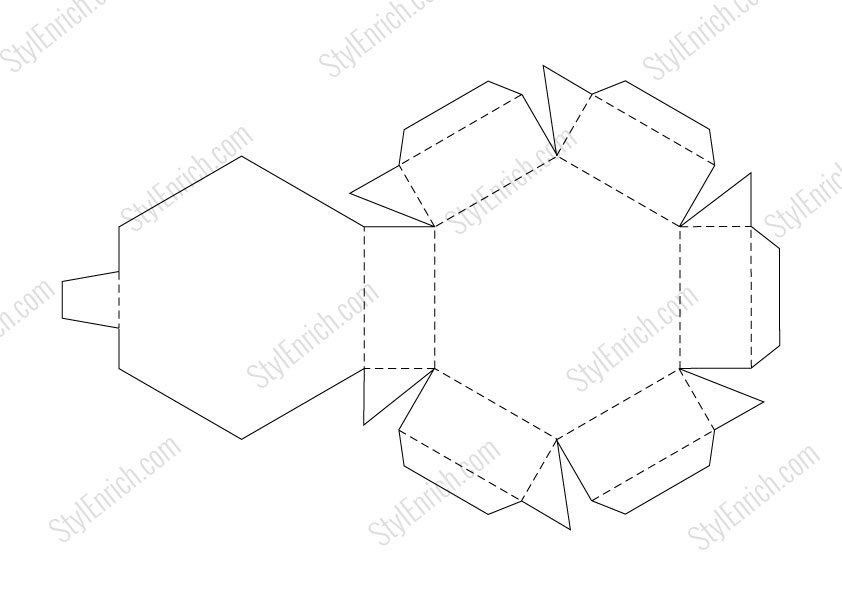 DIY Paper Gift Box Craft Stencil Template FREE Download