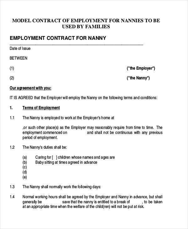 9+ Nanny Contract Templates - Free Sample, Example, Format Download
