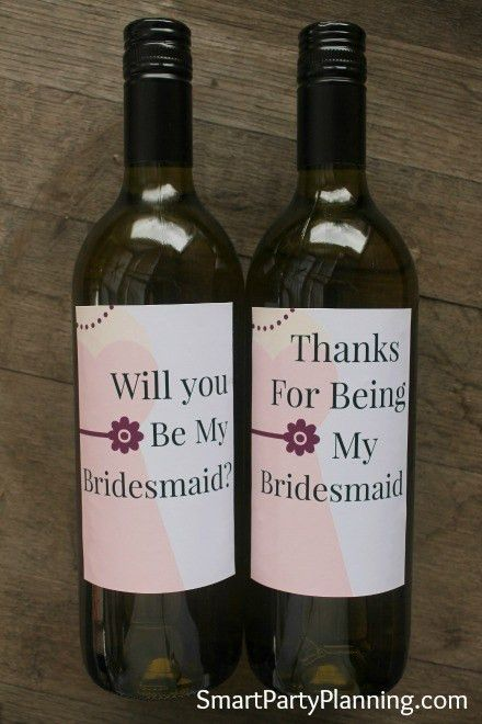 Printable Will You Be My Bridesmaid Wine Labels