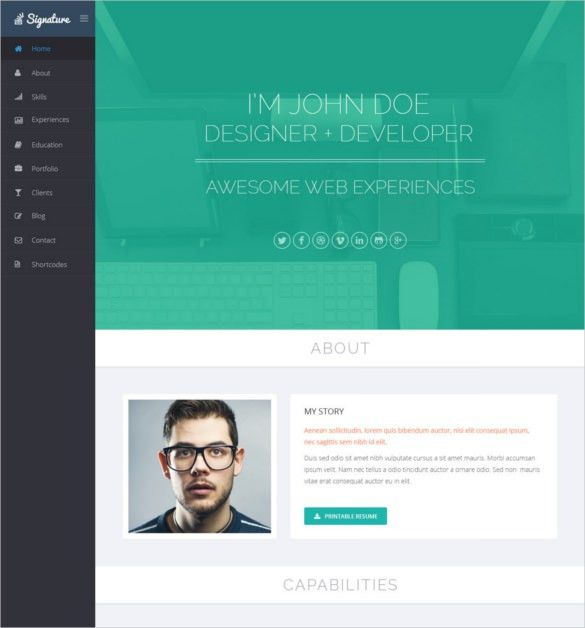Html Resume Template 12 Decent Material CV Personal Resume HTML ...
