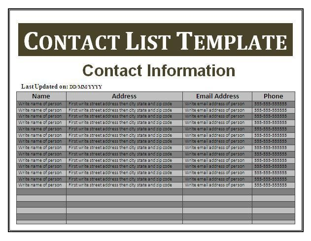 Contact List Template | Free Business Templates