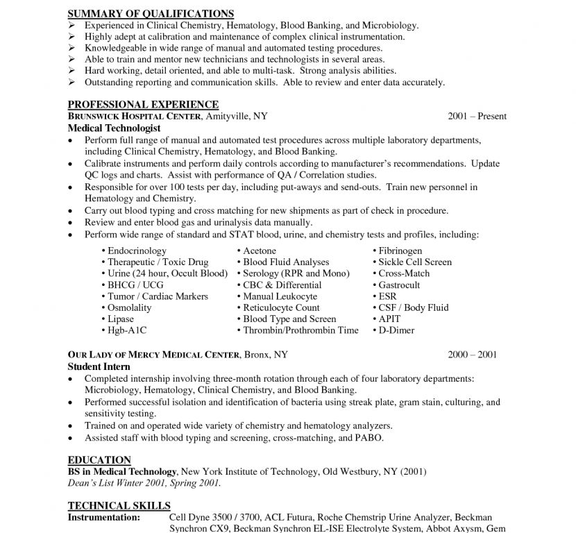 Medical Technologist Resume - Resume Example